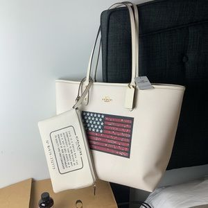 COACH July 4th Reversible Flag Motif Tote & Wallet